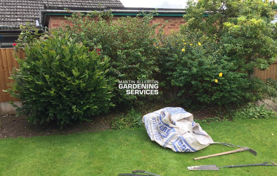 Stone shrub removal - before