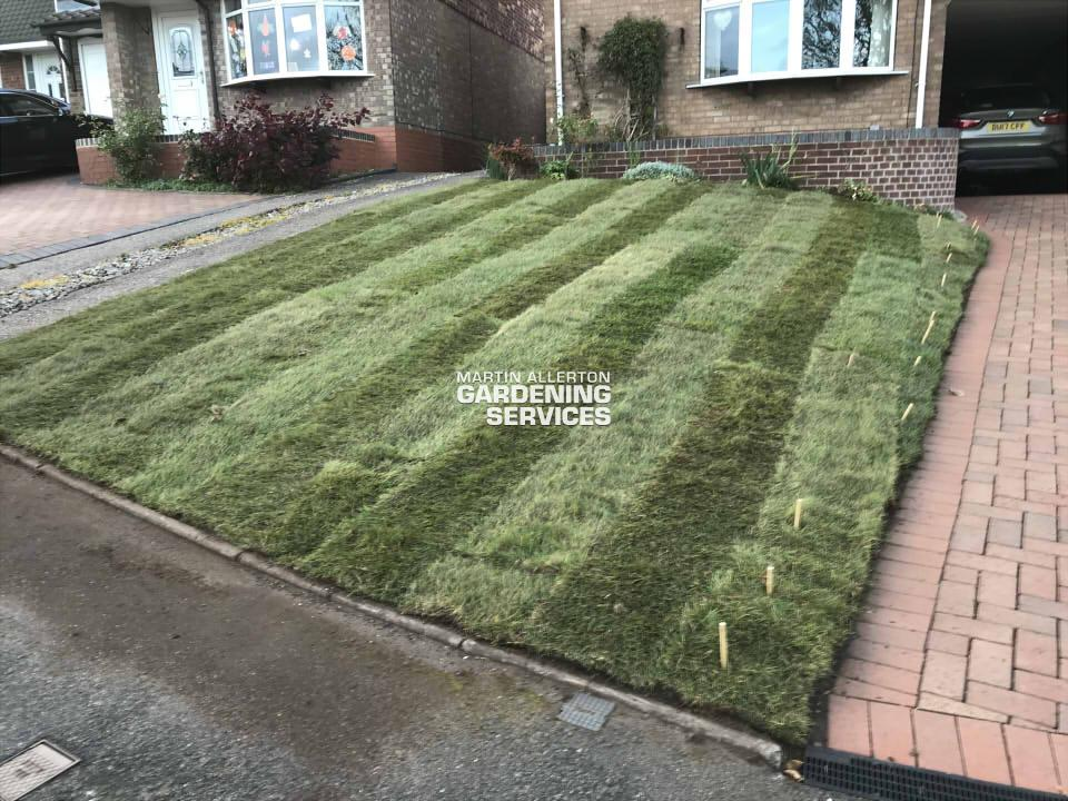 Stone new lawn relaying - after
