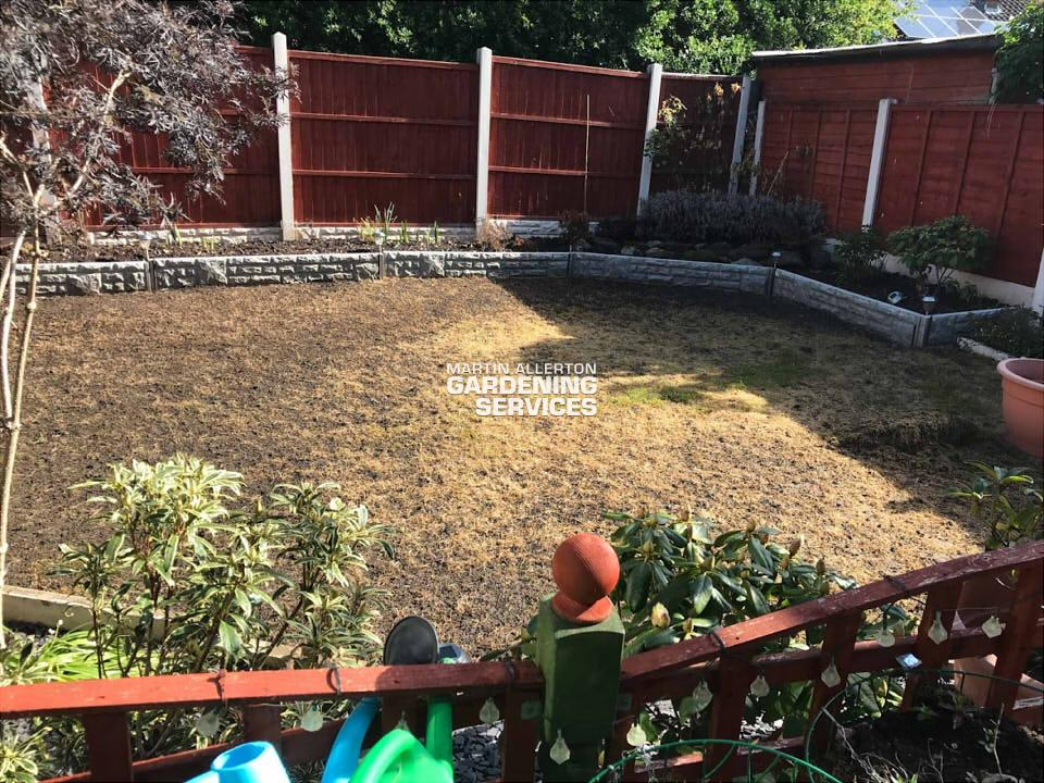 Great Haywood new lawn laid - before